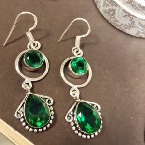 Beautiful Emerald Quartz Handmade Silver Earrings